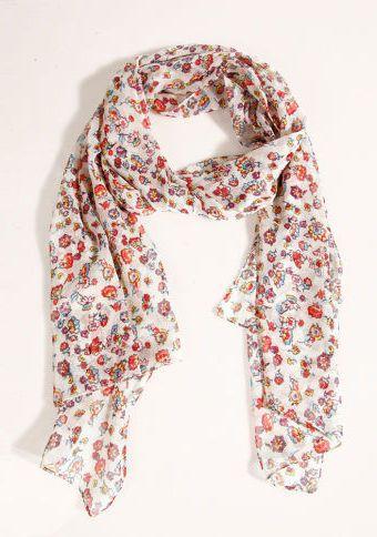 Šátek s potiskem #ModinoCZ #scarf #flowers #fashion #spring #trends #móda #šátek #květiny #trend