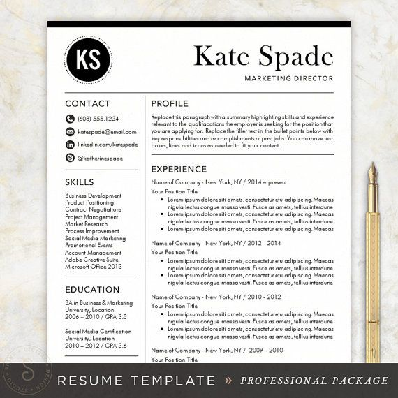 professional resume template cv template mac or pc for word creative modern design cover letter instant download the kate - Words Resume Template