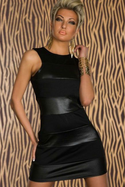 Sexy Damen Leder Look Kleid Spitzenkleid Minikleid Cocktailkleid Abendkleid