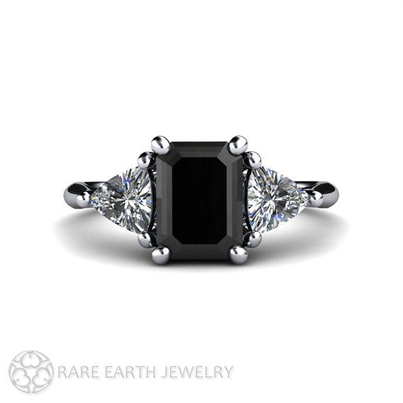 Black Diamond Engagement Ring Vintage Black Diamond by RareEarth