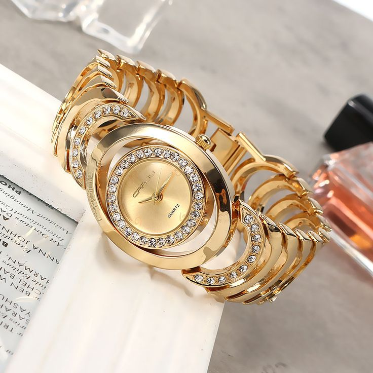 CRRJU Ladies Gold Watch Rhinestone Stainless Steel Quartz Luxury Watches for Her  women fashion jewelry watches