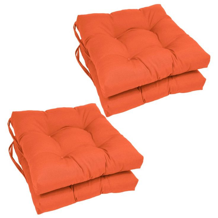 Blazing Needles Square 16 x 16 in. Twill Dining Chair Cushions - Set of 4 Tangerine Dream - 916X16SQ-T-4CH-TW-TD