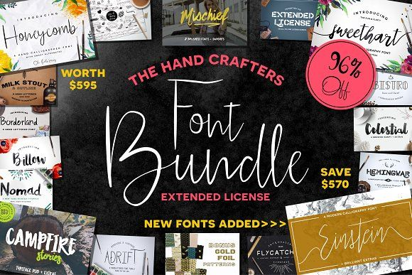 HandCrafters #Font Bundle - 96% OFF ( #calligraphy #typography #lettering #quotes #branding #bloggers #handwriting #watercolor #typeface #vintage #feminine #romantic #logodesign )