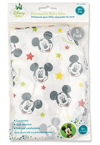 Mickey Mouse Disposable Bibs - Mickey Mouse Disposable Bib. Five Pack. Soft fabric bib featuring baby's favorite characters. Available from Regent Baby Products. Treating your baby royally since 1946.