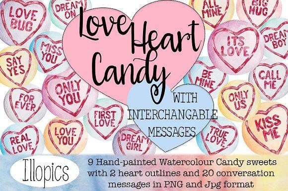 Love Heart Candy Clip Art by Illopics on @creativemarket
