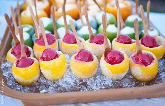 Fruit Sorbet in Fruit Cups: Frozen Lemon, Lemon Limes, Ideas, Frozen Fruit, Citrus Fruit, Parties, Food, Wedding Desserts, Fruit Cups