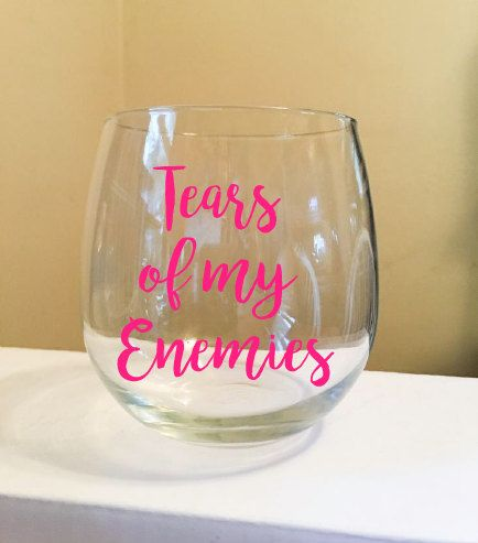 Wine glass with one color vinyl lettering, your choice. Use code BUY2SAVE4 to save $4 on 2 wine glasses thru 12/17.
