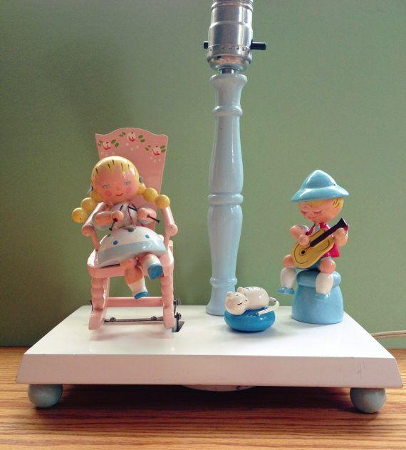 Vintage Irmi Nursery Lamp  Musical Animated Rocking by MelbaMoon