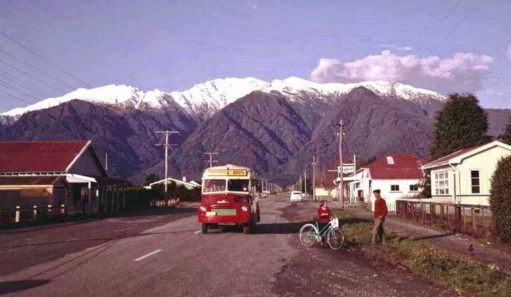 Bill ✔️ 1960. Whataroa, South Westland, New Zealand. An A3 Bedford based school bus of the Education Department.    Bill Gibson-Patmore.  (curation & caption: @BillGP). Bill✔️