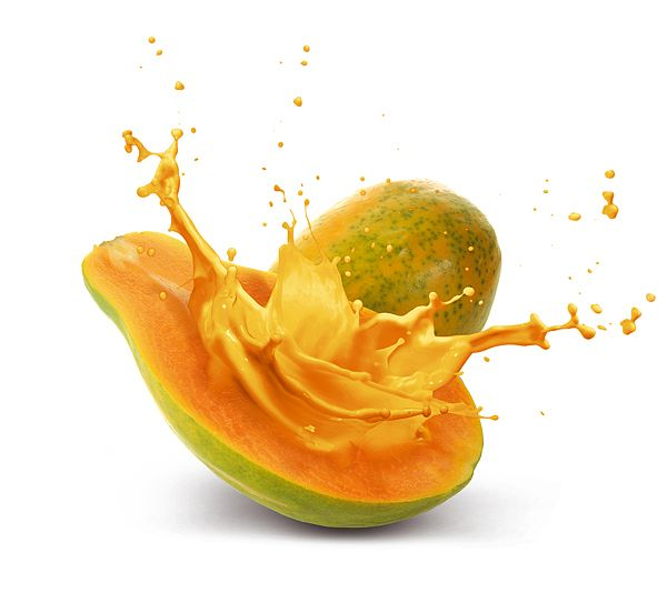 Fruity Explosions (illustration/post production) by Design Cartel 2013 via InspireFirst • depicted: papaya