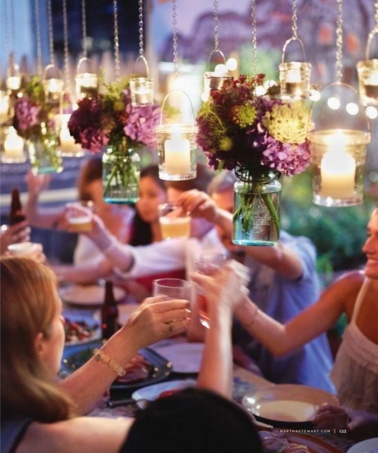 suspend the centerpieces and lighting to clear up space on the table