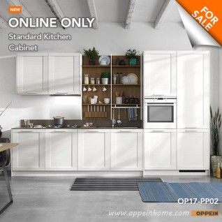 360cm Width Standard Kitchen Cabinet with White Thermofoil Finish OP17-PP02