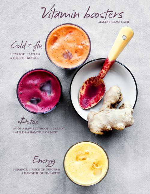 VITAMIN BOOSTERS for Juice or Smoothies!   1) COLD & FLU - 1 Carrot, 1 Apple, & 1 piece of Ginger  2) DETOX - 1/4 of a Beetroot, 1 Carrot, 1 Apple, & 1 handful of Mint  3) ENERGY - 1 Orange, 1 piece of Ginger, & 1 handful of Pineapple