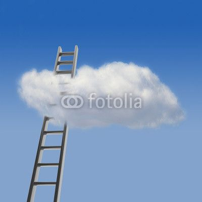 Blue sky with cloud and ladder, way to success concept