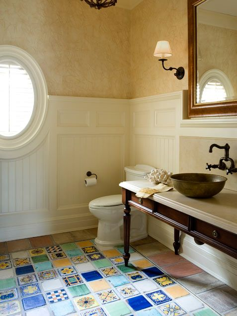 Scrumtrulescent floor with mexican tiles awesome via for Mexican bathroom ideas