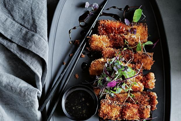 Donna Hay's recipe for crumbed pork with teriyaki dressing