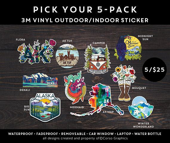PICK YOUR PACK of 5 Stickers Alaska nature stickers decal for water bottle or computer explore gift ideas mountain mermaid camper camping ak ***** COMMENT during checkout which 5 stickers you want included in your sticker swag pack! 5 Pack of Vinyl outdoor/weather proof sticker decal