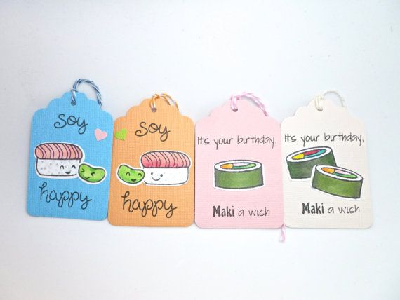 Handmade Kawaii Sushi Gift Tags Sushi Pun by createdbycolette, $6.00