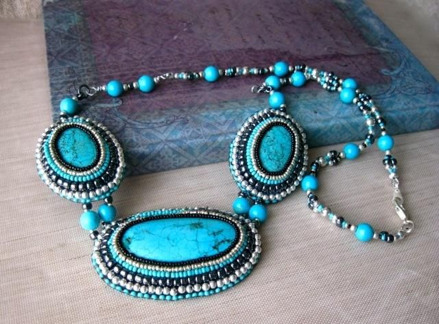 Turquoise Bead Embroidered Statement Necklace - Jewelry creation by Raziela Designs