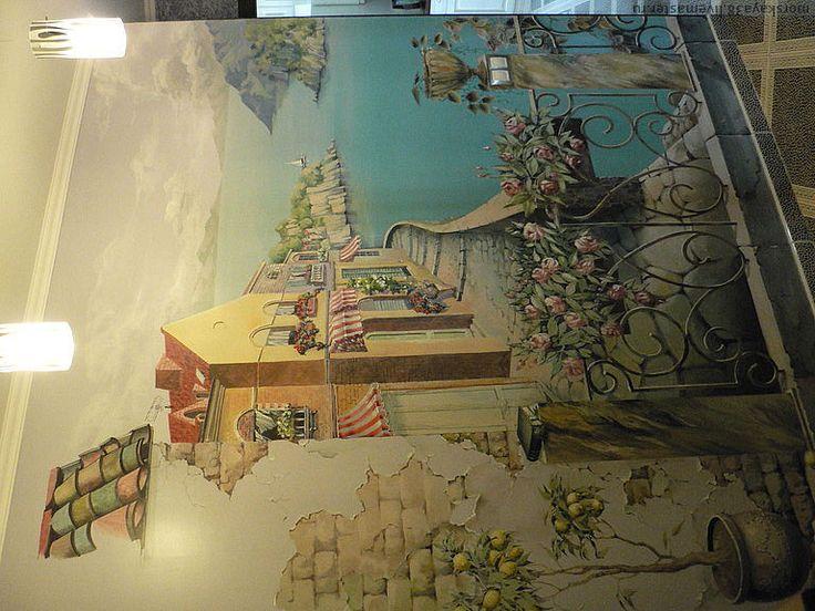 Mediterranean Theme In A Custom Hand Painted Wall Mural.