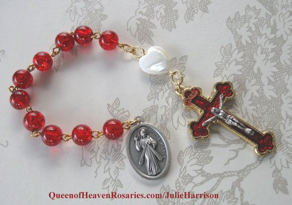 Divine Mercy Rosary Chaplet Tenner by julieharrison on Etsy, $30.00
