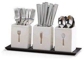 Blakely 36 Piece Flatware Set w/Caddies - contemporary - flatware -  - by Mikasa