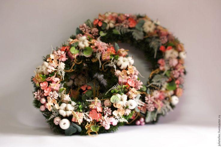 Купить Розовый венок - бледно-розовый, рождественский венок, венок на дверь, композиция на стол