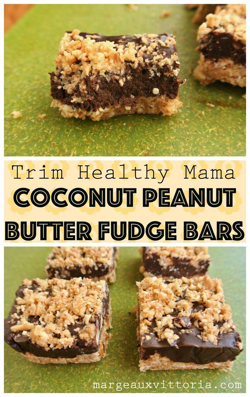 Trim Healthy Mama Coconut Peanut Butter Fudge Bars - easy no-bake deliciousness!