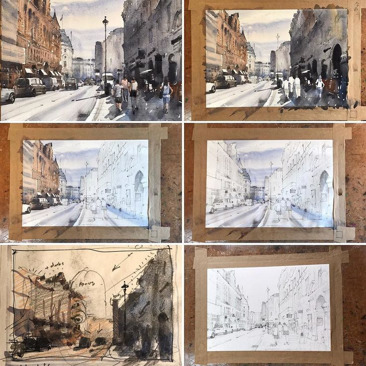Work in progress: painting of Shaftesbury Avenue from initial rough sketch/tonal study to the finished painting. #watercolour #painting #demo #shaftesbury #london #watercolour_gallery #stepbystep