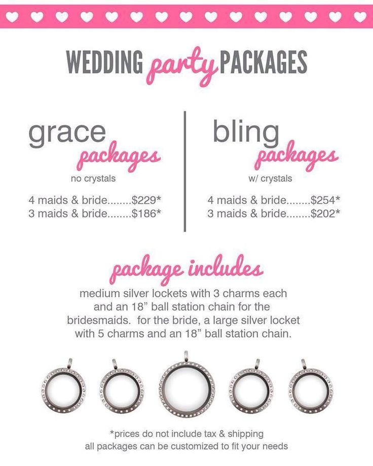Wedding season is near, why not do an Origami Owl wedding party package. Knock out those bridesmaid gifts & you'll have beautiful jewelry for the big day as well! Contact me for more details.