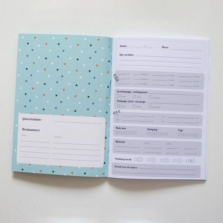 Voorbeeld van gepersonaliseerde heen en weer boekjes met logo van kinderopvang Maja