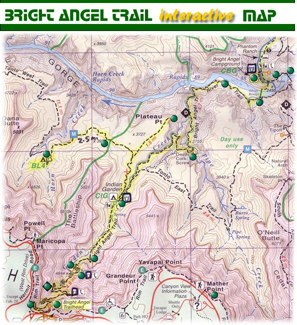 Bright Angel Trail Interactive Map | Bright Angel Trail | Trip to ...