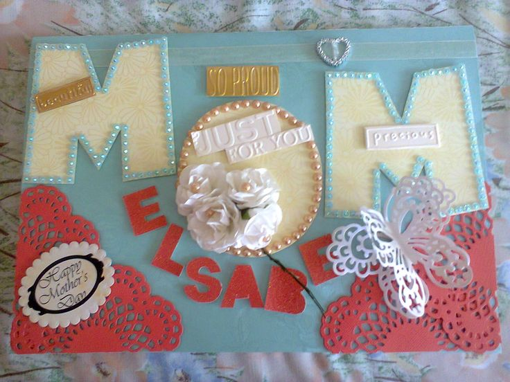 Personalized Coral, Lagoon And Ivory Mothers Day Card