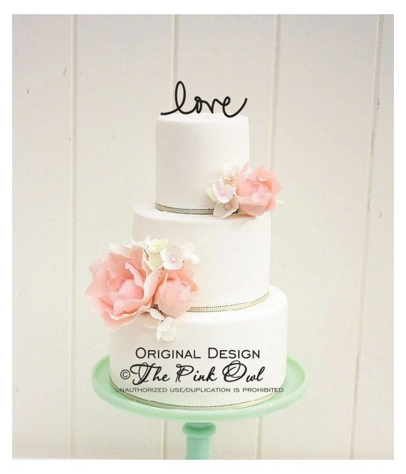 Wedding Cake Topper Monogram LOVE Custom Design