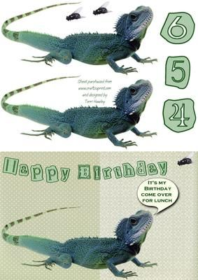 fun card for child aged 4- 6 in a decoupage style, kids love lizards.