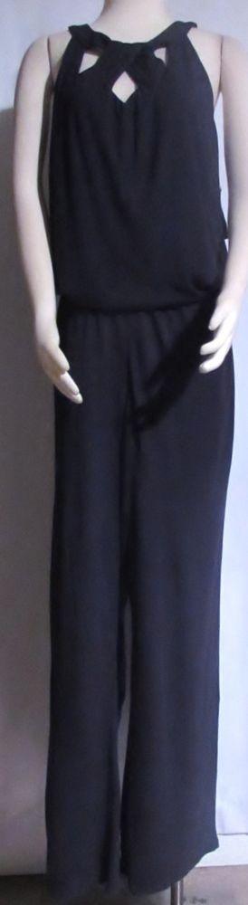 NEW Womens Ladies Plus MACY'S INC Navy Blue Stretch Pants Jumpsuit 2X Orig $99 #INCInternationalConcepts #Jumpsuit