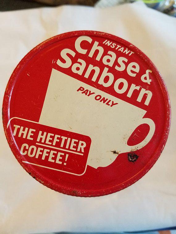 vintage chase & sanborn coffee jar lid wide mouth metal