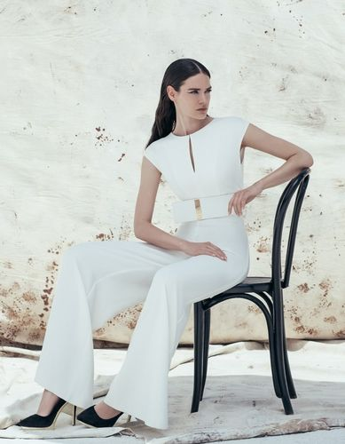 ACCESS Crepe de chine wide leg and keyhole neckline jumpsuit.