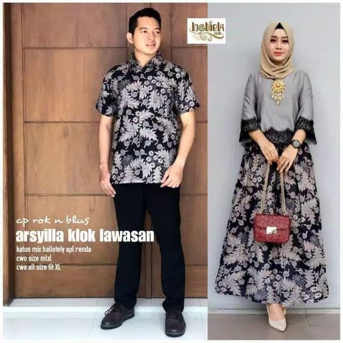 Model Gamis Terbaru Batik Kombinasi Brokat Desain Blus Model Baju Atasan Wanita
