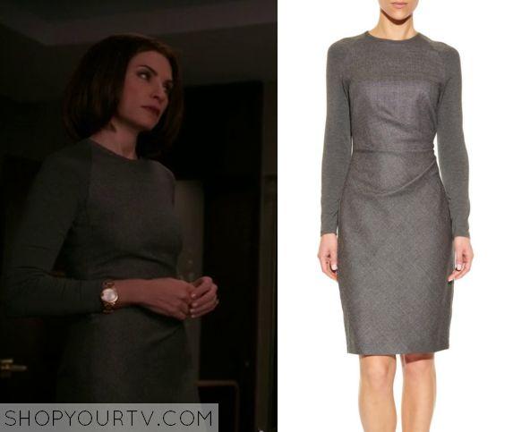 The Good Wife: Season 7 Episode 9 Alicia's Grey Long Sleeve Dress