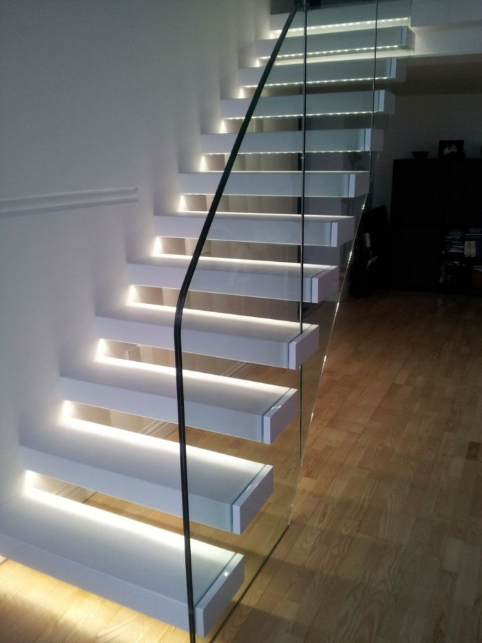 Luxury led treppenbeleuchtung gl sernes treppengel nder freistehnde stufen