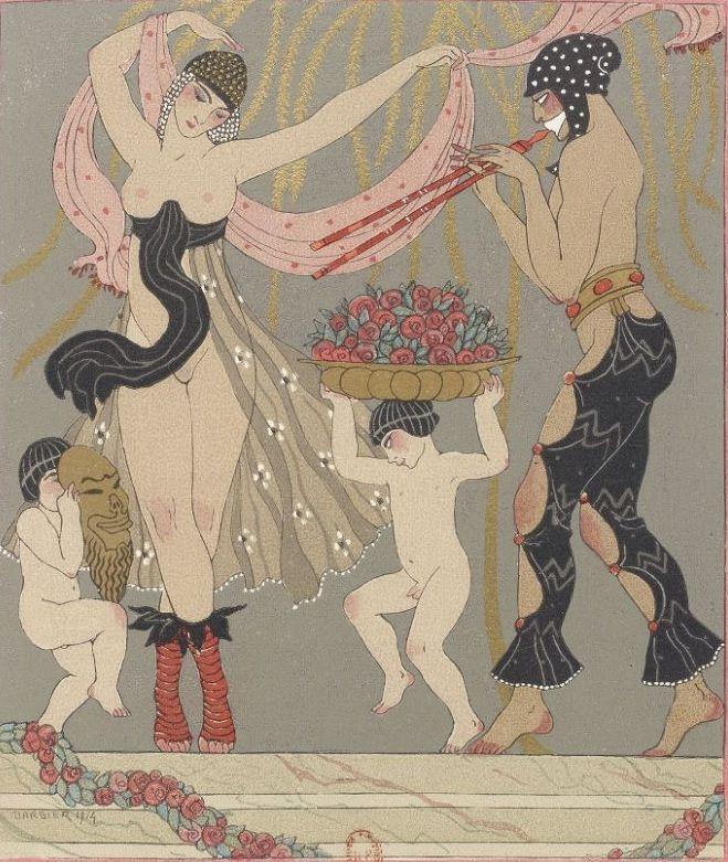 George Barbier 1882 1932 Les Chansons De Bilitis Edition Pierre Corrad 1922 Pinned 5 Xii 201 Art Deco Illustration Art Deco Fashion Vintage Poster Art