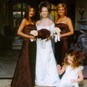 Peter Facinelli and Jennie Garth were married on January 20, 2001 at Our Lady of Mount Carmel Church in Montecito, California. Pictured with her, are 90210 co-stars & bridesmaids, Tori Spelling & Tiffany Thiessen.