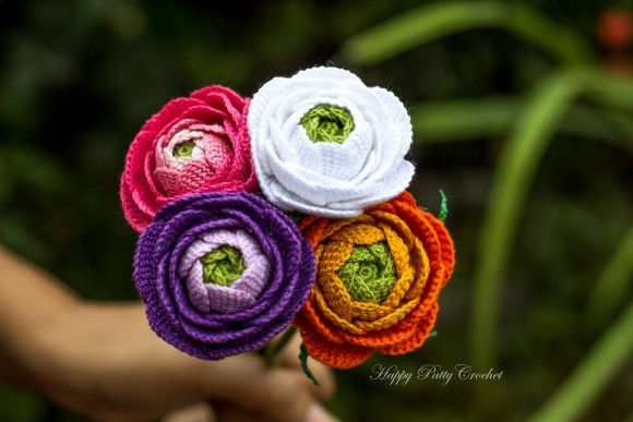 Crochet Ranunculus Flower by Happy Patty Crochet