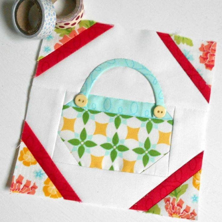 The Splendid Sampler Block no. 74 - Button Basket.  A sweet little patchwork block.