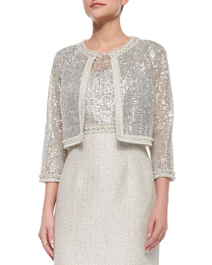 3/4-Sleeve Sequined Lace Jacket, Size: 12, Silver Multi - Kay Unger New York