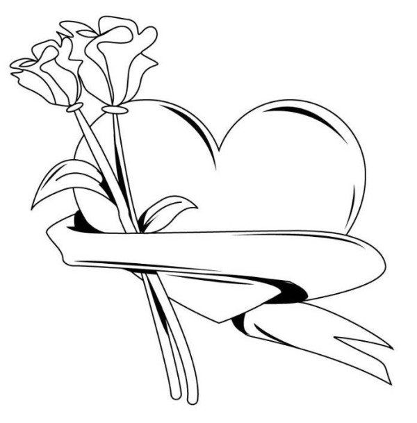 Pictures Of Hearts And Roses To Color Color Pages Of Hearts Heart