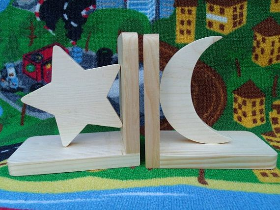 moon and stars nursery bedding | ... bookends (moon and star) kids room, nursery decor, child's bookends