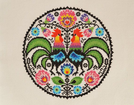 Welcome!  Available here is the cross stitch pattern for the above design which will be made available to you immediately after purchase. Youll be able to download and keep the file.  This bold and modern design is inspired by traditional folk art and uses whole cross stitches only. You can choose your preferred fabric for this design; 14 count white Aida is recommended. The design will also suit 28 count evenweave fabric. This is an easy skill cross stitch chart. When stitched at 14 count…