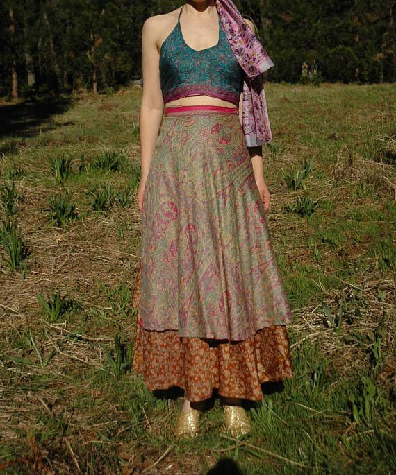 Such a gorgeous Indian silk wrap skirt! Free size.